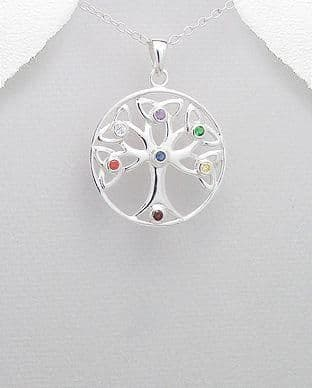 925 Sterling Silver Celtic and Chakra Tree Of Life Pendant & Chain Decorated with CZ Stones